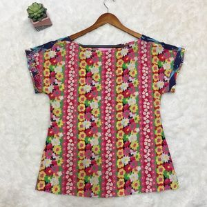 LILLY PULITZER Mult Color Floral  Blouse Top